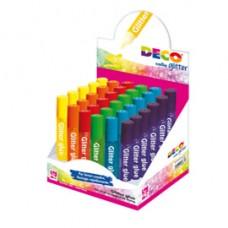 Colla glitter - 10,5 ml - colori assortiti pastello - Deco - display 30 pezzi