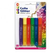 Colla glitter - 10,5 ml - colori pastello assortiti - CWR - blister 6 pezzi
