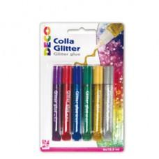 Blister colla glitter - 10,5 ml - colori assortiti metal - Deco - conf. 6 pezzi