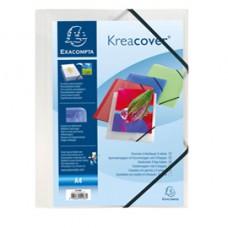 Cartella personalizzabile Kreacover  - con elastico - PP - 24x32 cm - bianco trasparente - Exacompta