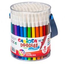 Pennarelli Joy - punta fine - colori assortiti - Carioca - Barattolo 100 pezzi
