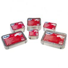 Contenitore in alluminio - 21,2 x 14,7 x 4 cm - 2 porzioni - coperchio incluso - Cuki Professional - pack 50 pezzi
