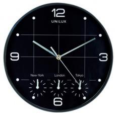 Orologio da parete 4 fusi on time - diametro 30,5 cm - nero - Unilux
