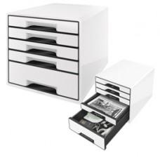 Cassettiera Drawer Cabinet Cube 5 - 28,7x27x36,3 cm - bianco - Leitz