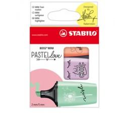 Evidenziatore Boss Mini Pastellove - punta a scalpello - tratto 2 - 5 mm - colori assortiti pastel - Stabilo - astuccio 3 pezzi