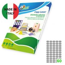 Etichetta adesiva SL4 - ovale - permanente - 36x20 mm - 60 etichette per foglio - satinata argento - Tico - conf. 100 fogli A4