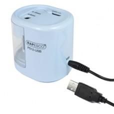 Temperamatite elettrico con contenitore - 2 fori - bianco - rapesco