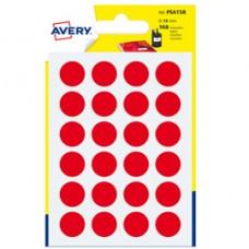 Etichetta adesiva tonda PSA - permanente - D 15 mm - rosso - Avery - blister 168 etichette