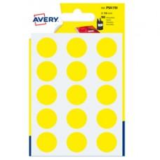 Etichetta adesiva tonda PSA - permanente - D 19 mm - giallo - Avery - blister 90 etichette