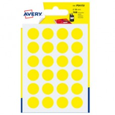 Etichetta adesiva tonda PSA - permanente - D 15 mm - giallo - Avery - blister 168 etichette