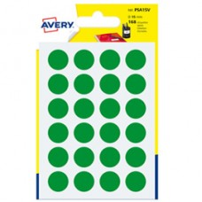 Etichetta adesiva tonda PSA - permanente - D 15 mm - verde - Avery - blister 168 etichette