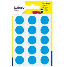 Etichetta adesiva tonda PSA - permanente - D 19 mm - blu - Avery - blister 90 etichette