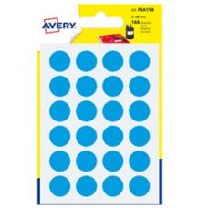 Etichetta adesiva tonda PSA - permanente - D 15 mm - blu - Avery - blister 168 etichette