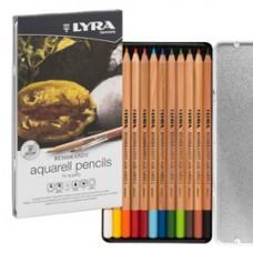 Pastelli Aquarell Rembrandt - 3,7 mm - colori assortiti - Lyra - astuccio metallo 12 pezzi