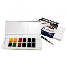 Acquerelli Acquafine Godet - colori assortiti - Daler Rowney - scatola in plastica 12 acquerelli + 1 pennello