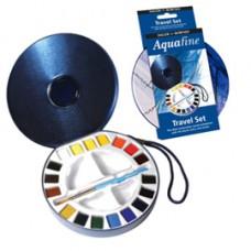 Acquerelli Aquafine Godet - colori assortiti - Daler Rowney - scatola in metallo 18 acquerelli + pennello + 2 tavolozze