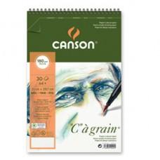 Album spiralato lato corto ''C''  A' grain - A4+ - 180 gr - 30 fogli - Canson