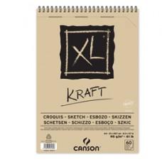 Album spiralato lato corto XL kraft - A4 - 90 gr - 60 fogli - Canson