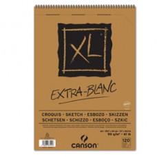 Album spiralato lato corto XL - A3 - 90 gr - 120 fogli - extra white - Canson