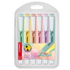 Astuccio evidenziatore Swing Cool Pastel - punta a scalpello - tratto 1 - 4 mm - colori assortiti - Stabilo - astuccio 6 pezzi