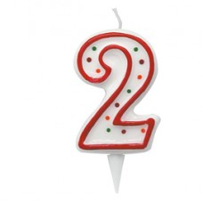 Candelina Zuccherino - numero 2 - h.8.5cm - Big  party
