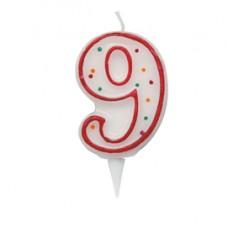 Candelina Zuccherino - numero 9 - h.8.5cm - Big  party