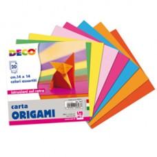 Carta per origami - 14x14cm - colori assortiti  - DECO - Conf. da 20 fogli
