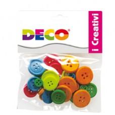 Bottoni - in legno - colori neon - Deco - conf. 30 pezzi