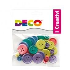 Bottoni - in legno - colori pastello - Deco - conf. 30 pezzi