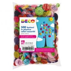 Bottoni - in plastica - colori assortiti - Deco - conf. 650 pezzi