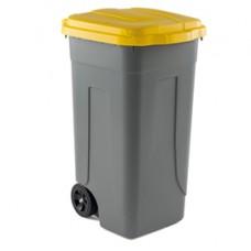 Bidone mobile - con chiusura a clip - 49x54x85 cm - 100 L - grigio/giallo - Mobil Plastic