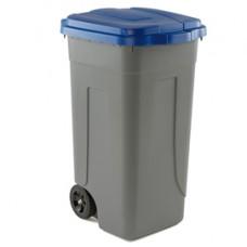 Bidone mobile - con chiusura a clip - 49x54x85 cm - 100 L - grigio/blu - Mobil Plastic