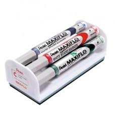 Marcatori Maxiflo + cancellino - punta conica 4 mm - colori assortiti - Pentel - set 4 + 1 pezzi