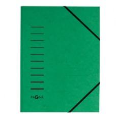 Cartella 3 lembi - con elastico - cartoncino - A4 - verde - Pagna
