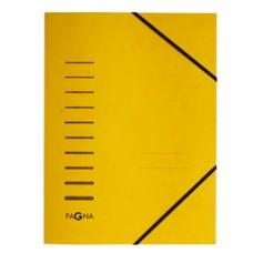Cartella 3 lembi - con elastico - cartoncino - A4 - giallo - Pagna
