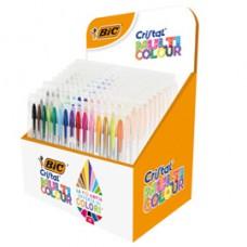 Astuccio penne Cristal Multicolor - colori assortiti - Bic - expo 10 pezzi