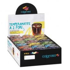 Temperamatite - a 2 fori - colori assortiti - Ri.Plast - expo 18 pezzi
