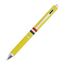 Penna a sfera a scatto multifunzione - fusto giallo gommato Italia - Osama
