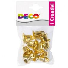 Campanellini - dim. 22 mm - in metallo - oro - Deco - conf. 10 pezzi