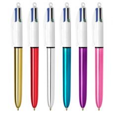 Penna sfera scatto multifunzione 4 Colours Shine - punta 1,0 mm - 4 colori  - Bic - scatola 12 pezzi