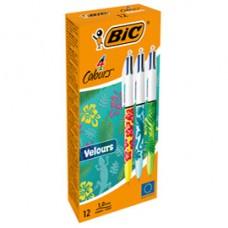 Penna sfera scatto multifunzione 4 Colours Velours - punta 1,0 mm - 4 colori - Bic - scatola 12 pezzi