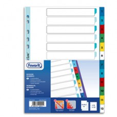 Divisori numerici 12 tacche - A4 - PP - colori assortiti - Favorit