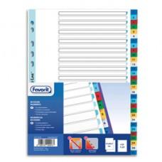 Divisori numerici 31 tacche - A4 - PP - colori assortiti - Favorit