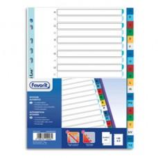 Divisori alfabetici 20 tacche - PP - A4 - colori assortiti - Favorit