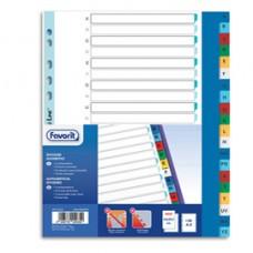 Divisori alfabetici 20 tacche - PP - A4 maxi - colori assortiti - Favorit