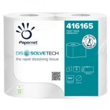 Carta igienica DissolveTech - 9,5 cm x 94 mt - diametro 12,1 cm - 850 strappi - Papernet - pacco 4 rotoli
