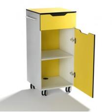 Mobile quadro advanced con anta e due maniglie - giallo - 45x45x100cm - Durable