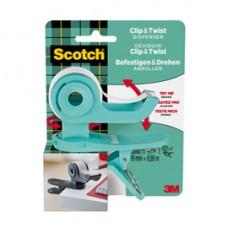 Dispenser Clip  Twist per nastro adesivo - menta - rotolo incluso da 19 mm x 9,8 mt - Scotch  Magic
