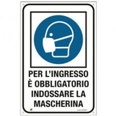 Cartello alluminio - ''Obbligo uso mascherina'' -  20x30 cm - Cartelli Segnalatori
