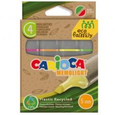 Evidenziatore Memolight Eco Family - colori assortiti - Carioca - scatola 4 pezzi